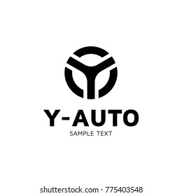 Y Auto car wheel logo design template. Vector letter Y circle logotype icon. Alphabet label sign for branding and identity. Type character symbol illustration