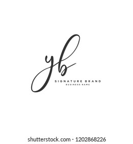 Y B YB Initial letter handwriting and  signature logo concept design