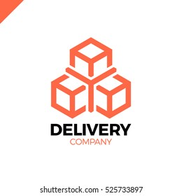 Y box logo. Delivery, Logistic or Transportation and industry icon. Flat Three box logotype