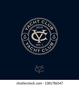 Y and C monogram. Logo yacht club, seafood restaurant logo. Y and C are crossed letters in a circle.