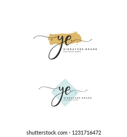 Y E YE Initial letter handwriting and  signature logo.