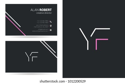 Y & F joint logo line letter design with business card template