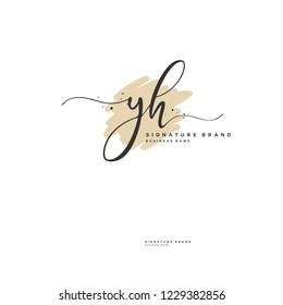 Y H YH Initial logo template vector