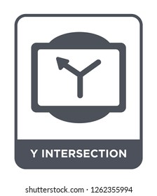 y intersection icon vector on white background, y intersection trendy filled icons from Traffic signs collection, y intersection simple element illustration