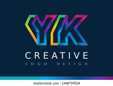 Y K Logo. YK Letter Design Vector with Magenta blue and green yellow color