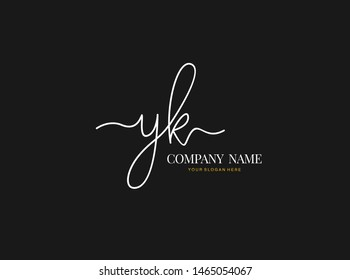 Y K YK Initial handwriting logo design with circle. Beautyful design handwritten logo for fashion, team, wedding, luxury logo.