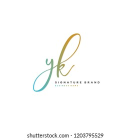 Y K YK Initial letter handwriting and  signature logo concept design