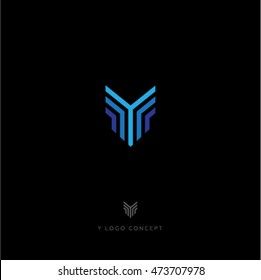 Y letter. Blue lines logo. Y monogram.