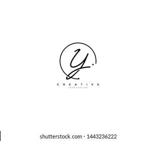 Y letter calligraphic Minimal monogram emblem style vector logo