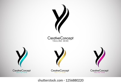 Y Letter Design Brush Paint Stroke. Letter Logo with Black and Color Paintbrush Stroke