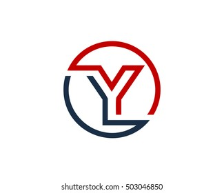 Y Letter Line Circle Logo Design Template