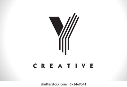 Y Letter Logo With Black Lines Design. Line Letter Symbol Vector Illustration