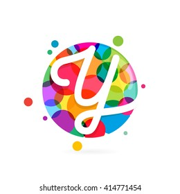 Y letter logo in circle with rainbow dots. Font style, vector design template elements for your application or corporate identity.