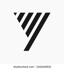 Y letter logo with trapezoidal and triangle. Simple and unusual logo design vector template