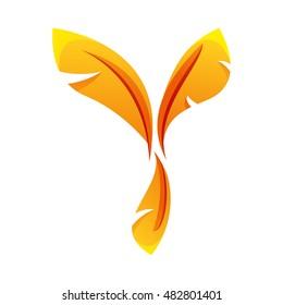 Y letter, stylization of feathers. Y logo. Y icon