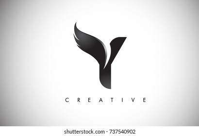 Y Letter Wings Logo Design Icon. Flying Wing Letter Logo with Creative Black Wing Concept.