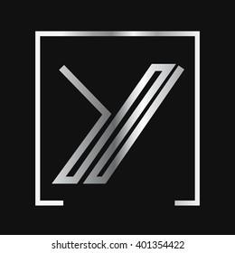 Y logo, silver letter , square frame