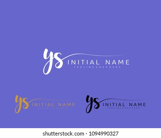 Y S Initial handwriting logo vector. Hand lettering for designs.