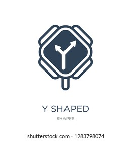 y shaped intersection icon vector on white background, y shaped intersection trendy filled icons from Shapes collection, y shaped intersection vector illustration
