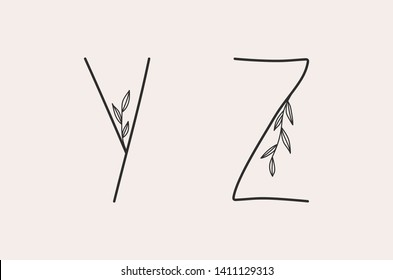Y and Z letter set of a simple alphabet with floral elements.