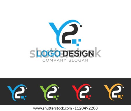 y 2 letter logo template vector illustration stock vector royalty