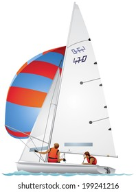 Yacht 470-class dinghy in profile realistic vector illustration, top sail sailboat, sport race, Four-Seventy