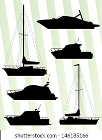 Yacht, boat sailing vector background set