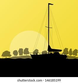 Yacht, boat sailing vector background evening landscape illustration