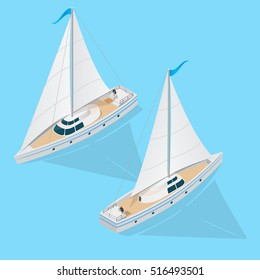 Yacht Boat Set Isometric 3d View on a Blue Background. Vector illustration of Flat ship ocean sea nautical water transport. Two top logistics or cruise concept. Sailing and yachting, vip