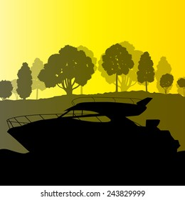 Yacht boat vector background landscape vector with sea coast and trees