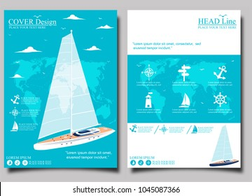Yacht club flyer design with sail boat. Luxury yacht race, sea sailing regatta poster vector illustration. Nautical worldwide traveling promotion layout.