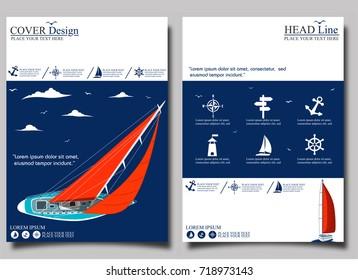 Yacht club flyer design with sail boat. Luxury yacht race, sea sailing regatta banner vector illustration.