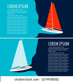 Yacht club flyers design with sport sail boat. Luxury yacht race, sea sailing regatta poster vector illustration. Nautical worldwide yachting or traveling promotion layout.