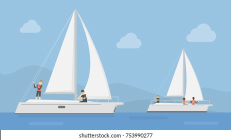 Yacht club illustration. People sailing at yacht.