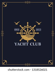 yacht club label isolated on dark background in decorative frame