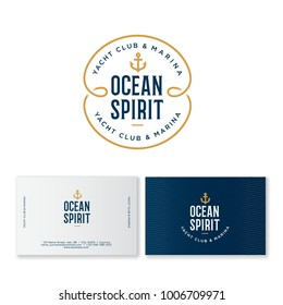 Yacht club logo. Ocean spirit emblem. Fisher Club emblem. Letters and an anchor on a blue badge with waves. Identity. Business card.