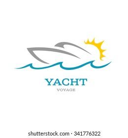Yacht club logo. Sea or ocean trip adventure concept symbol.