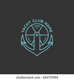 Yacht club logo template design. Vector illustration.
