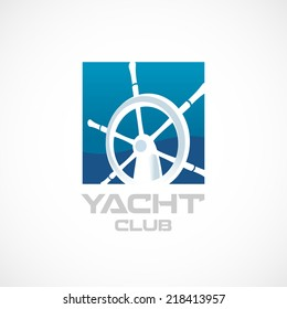 Yacht club logo template. Helm sign.