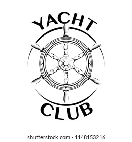 Yacht club logo vintage gravure style isolated on white background