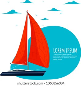 Yacht club sticker with sail boat. Luxury yacht race, sea sailing regatta badge vector illustration. Nautical worldwide traveling promotion layout with space for text.