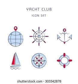 Yacht club. Vector icon set. Marine sport logo.