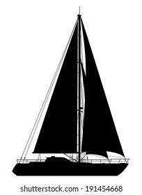 Yacht. Detailed vector illustration of black yacht isolated on white background.