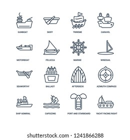 Yacht Facing Right, port and starboard, capsizing, ship Admiral, Azimuth compass, gunboat, motorboat, Seaworthy, marine outline vector icons from 16 set