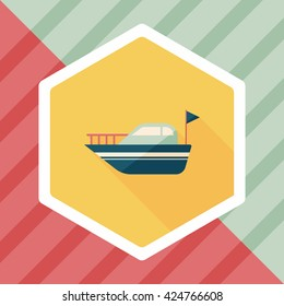 Yacht flat icon with long shadow,eps10