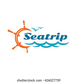 Yacht helm wheel logo with marine sea waves and seagulls silhouettes. Sea or ocean ship cruise travel concept.