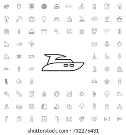Yacht icon. set of outline tourism icons.
