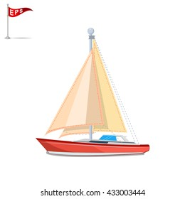 yacht icon, vector sailboat icon, isolated pleasure boat