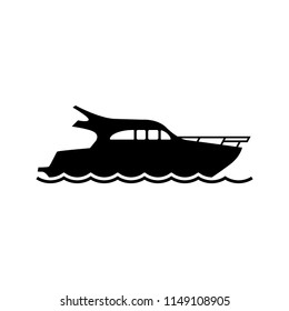 Yacht icon vector. Yacht silhouette on white background. Black speed boat symbol. Ship logo. All in a single layer. Vector Illustration.