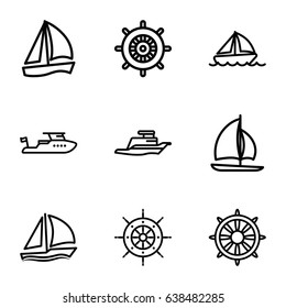 Yacht icons set. set of 9 yacht outline icons such as helm, boat, ship